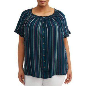 Terra & Sky Woven Peasant Striped blouse
